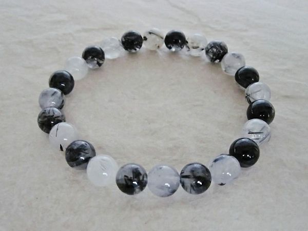 Black & Silvery Grey Rutilated Quartz Beaded Unisex Bracelet | Silver Sensations